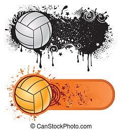 спорт, гранж, волейбол, чернила