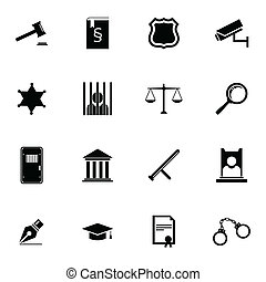 справедливость, задавать, черный, вектор, icons