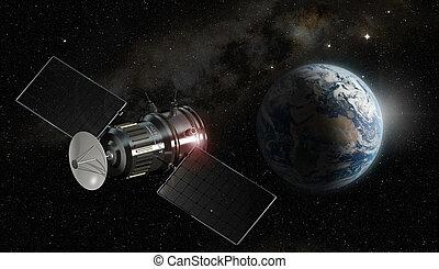 спутник, elements, меблированный, это, образ, -, иллюстрация, nasa, orbiting, земля, 3d