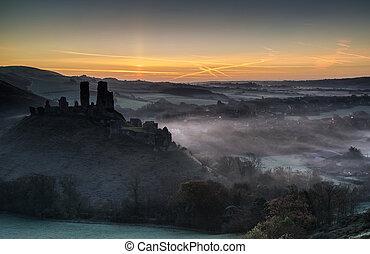 средневековый, восход, туманный, замок, ruins, пейзаж