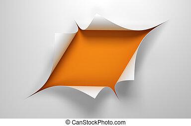 средний, дыра, бумага, лист