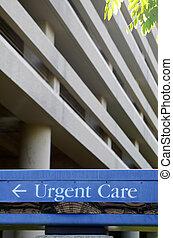 срочный, больница, забота, знак
