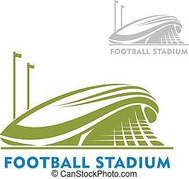 стадион, футбол, flags, здание