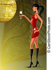 стакан, вино, леди, вечеринка