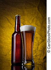 стакан, пиво, желтый, задний план, бутылка