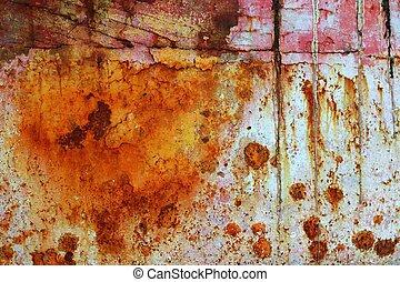 стали, oxidized, гранж, текстура, покрасить, ржавый, железо, aged