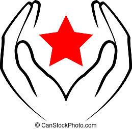 станция, -, вектор, держа, руки, красный, значок