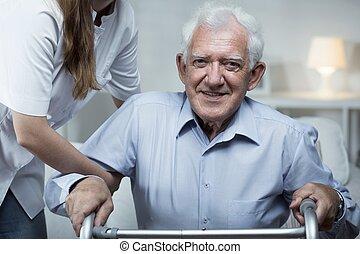 старейшина, помощь, человек, медсестра
