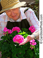 старшая, женщина, садоводство