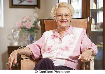 старшая, женщина, стул, relaxing