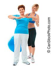 старшая, женщина, упражнение, фитнес