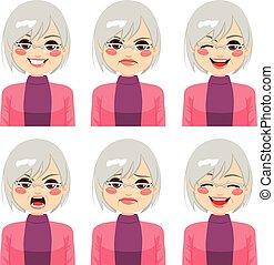 старшая, женщина, expressions, лицо