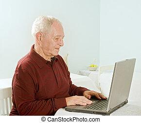 старшая, компьютер, портативный компьютер, человек