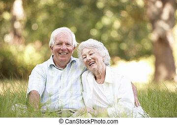 старшая, парк, пара, сидящий