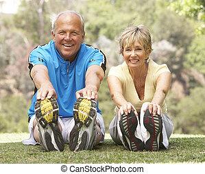 старшая, парк, пара, exercising