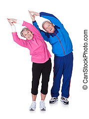 старшая, портрет, пара, exercising