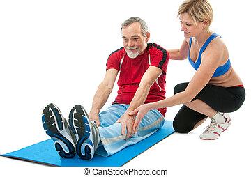 старшая, человек, упражнение, фитнес
