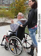 старшая, homecare, женщина, инвалидная коляска