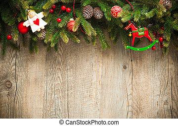 старый, деревянный, над, украшение, задний план, рождество