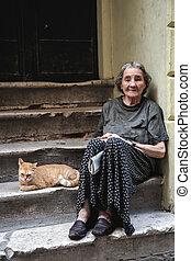 старый, женщина, бедность, бездомный