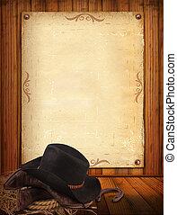 старый, ковбой, текст, бумага, западный, задний план, одежда