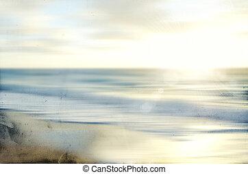 старый, морской пейзаж, абстрактные, размытый, движение, бумага, море, панорамирование