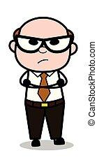 старый, настроение, офис, сердитый, -, иллюстрация, босс, ожидание, вектор, ретро, мультфильм, человек