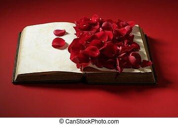 старый, роза, над, petals, книга, aged
