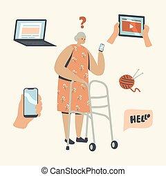 старый, старшая, мобильный, пытаясь, держа, женщина, смущенный, новый, вне, учить, персонаж, technologies., женский пол, смартфон, фигура