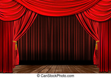старый, элегантный, драматичный, fashioned, театр, красный, сцена