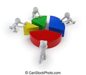 статистика, люди, -, командная работа, маленький, 3d