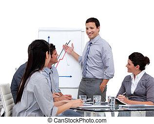 статистика, presenting, бизнесмен, компания, молодой