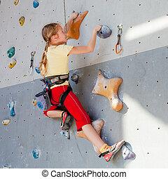 стена, альпинизм, подросток, камень