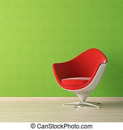 стена, дизайн, интерьер, зеленый, стул, красный