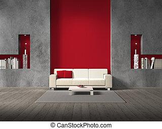 стена, живой, фиктивный, комната, темно-бордовый