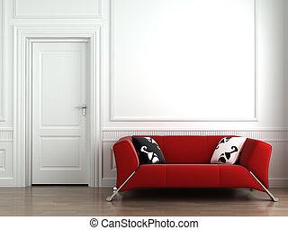 стена, интерьер, белый, красный, диван