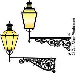 стена, улица, lamps