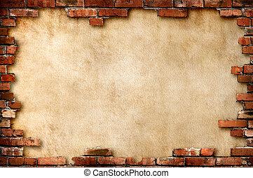 стена, шероховатый, кирпич, рамка