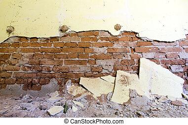 стена, школа, заброшенный