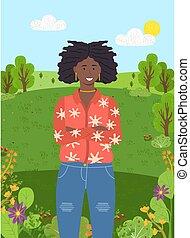 стенды, солнце, park., trees, зеленый, небо, задний план, молодой, лес, девушка, dark-skinned, чисто, или