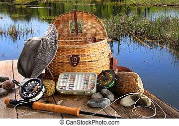 стержень, fly-fishing, оборудование, традиционный