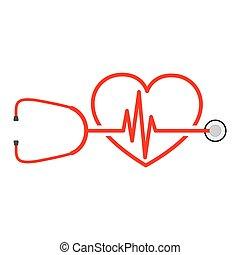 стетоскоп, вектор, знак, сердцебиение, иллюстрация, heart.