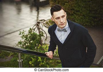 стильный, на открытом воздухе, молодой, человек