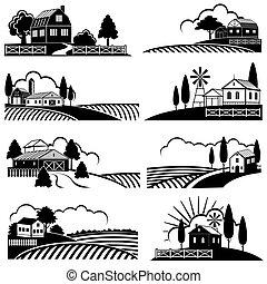 стиль, гравюра на дереве, сельская местность, марочный, backgrounds, scene., ферма, вектор, пейзаж