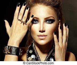стиль, девушка, мода, модель, портрет, коромысло