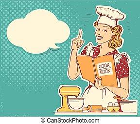 стиль, женщина, держа, room., марочный, готовка, молодой, шеф-повар, вектор, ретро, задний план, готовить, одежда, книга, кухня