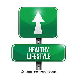 стиль жизни, здоровый, иллюстрация, знак, дизайн, дорога