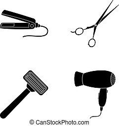 стиль, задавать, razor., парикмахер, сушилка, символ, выпрямитель, web., коллекция, волосы, вектор, черный, иллюстрация, icons, акции
