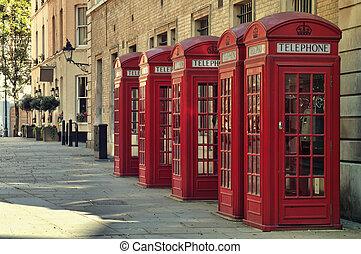 стиль, старый, традиционный, телефон, boxes, uk, красный, london.