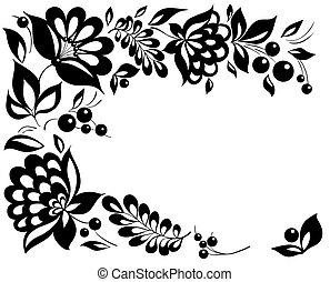 стиль, black-and-white, leaves., элемент, дизайн, ретро, цветочный, цветы